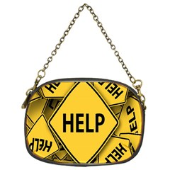 Caution Road Sign Help Cross Yellow Chain Purses (one Side)