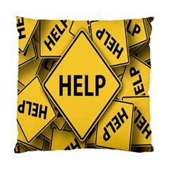 Caution Road Sign Help Cross Yellow Standard Cushion Case (one Side) by Alisyart