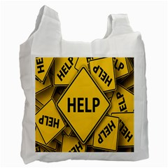 Caution Road Sign Help Cross Yellow Recycle Bag (one Side) by Alisyart