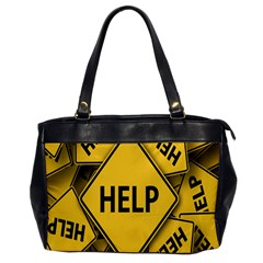 Caution Road Sign Help Cross Yellow Office Handbags by Alisyart