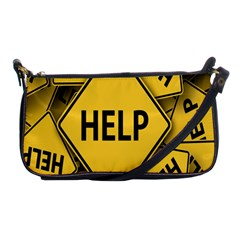 Caution Road Sign Help Cross Yellow Shoulder Clutch Bags by Alisyart