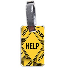 Caution Road Sign Help Cross Yellow Luggage Tags (two Sides)