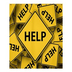 Caution Road Sign Help Cross Yellow Shower Curtain 60  X 72  (medium)  by Alisyart