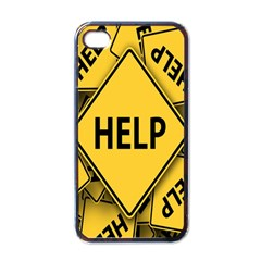 Caution Road Sign Help Cross Yellow Apple Iphone 4 Case (black) by Alisyart