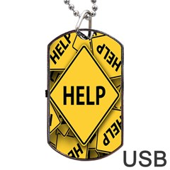 Caution Road Sign Help Cross Yellow Dog Tag Usb Flash (two Sides) by Alisyart
