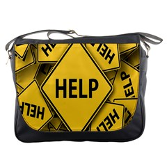 Caution Road Sign Help Cross Yellow Messenger Bags