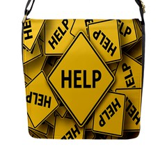 Caution Road Sign Help Cross Yellow Flap Messenger Bag (l)
