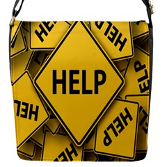 Caution Road Sign Help Cross Yellow Flap Messenger Bag (s) by Alisyart