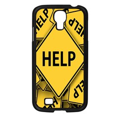 Caution Road Sign Help Cross Yellow Samsung Galaxy S4 I9500/ I9505 Case (black) by Alisyart