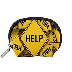 Caution Road Sign Help Cross Yellow Accessory Pouches (small)