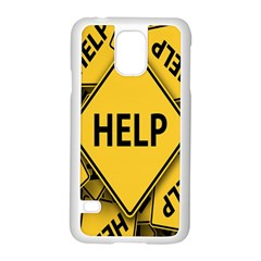 Caution Road Sign Help Cross Yellow Samsung Galaxy S5 Case (white)