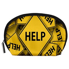 Caution Road Sign Help Cross Yellow Accessory Pouches (large)  by Alisyart