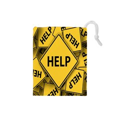 Caution Road Sign Help Cross Yellow Drawstring Pouches (small)  by Alisyart