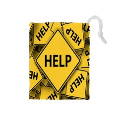 Caution Road Sign Help Cross Yellow Drawstring Pouches (medium)  by Alisyart