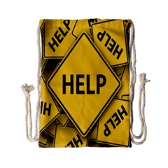 Caution Road Sign Help Cross Yellow Drawstring Bag (small) by Alisyart
