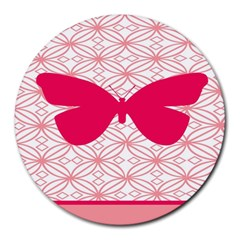 Butterfly Animals Pink Plaid Triangle Circle Flower Round Mousepads by Alisyart