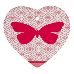 Butterfly Animals Pink Plaid Triangle Circle Flower Ornament (heart) by Alisyart