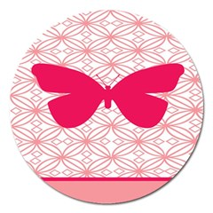 Butterfly Animals Pink Plaid Triangle Circle Flower Magnet 5  (round) by Alisyart