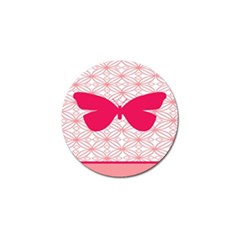 Butterfly Animals Pink Plaid Triangle Circle Flower Golf Ball Marker (10 Pack) by Alisyart