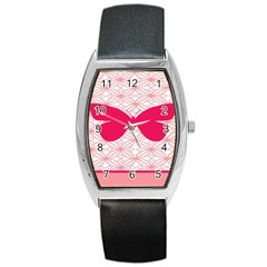 Butterfly Animals Pink Plaid Triangle Circle Flower Barrel Style Metal Watch by Alisyart