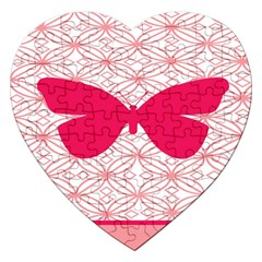 Butterfly Animals Pink Plaid Triangle Circle Flower Jigsaw Puzzle (heart)