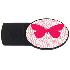 Butterfly Animals Pink Plaid Triangle Circle Flower Usb Flash Drive Oval (4 Gb)
