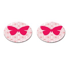 Butterfly Animals Pink Plaid Triangle Circle Flower Cufflinks (oval)