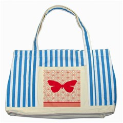 Butterfly Animals Pink Plaid Triangle Circle Flower Striped Blue Tote Bag by Alisyart