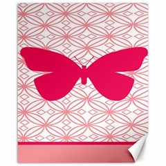 Butterfly Animals Pink Plaid Triangle Circle Flower Canvas 16  X 20   by Alisyart