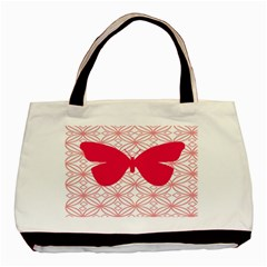 Butterfly Animals Pink Plaid Triangle Circle Flower Basic Tote Bag (two Sides)