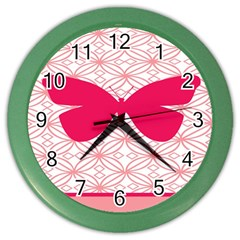 Butterfly Animals Pink Plaid Triangle Circle Flower Color Wall Clocks by Alisyart
