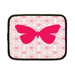 Butterfly Animals Pink Plaid Triangle Circle Flower Netbook Case (small)
