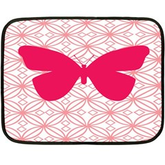 Butterfly Animals Pink Plaid Triangle Circle Flower Fleece Blanket (mini) by Alisyart