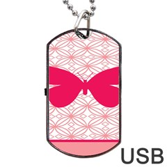 Butterfly Animals Pink Plaid Triangle Circle Flower Dog Tag Usb Flash (two Sides) by Alisyart