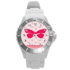 Butterfly Animals Pink Plaid Triangle Circle Flower Round Plastic Sport Watch (l)