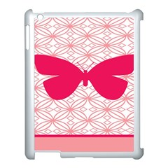 Butterfly Animals Pink Plaid Triangle Circle Flower Apple Ipad 3/4 Case (white) by Alisyart