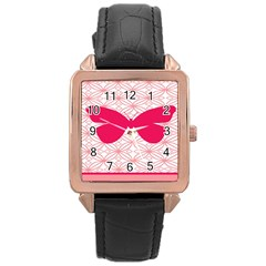 Butterfly Animals Pink Plaid Triangle Circle Flower Rose Gold Leather Watch