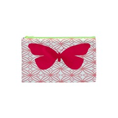 Butterfly Animals Pink Plaid Triangle Circle Flower Cosmetic Bag (xs) by Alisyart