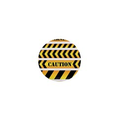 Caution Road Sign Warning Cross Danger Yellow Chevron Line Black 1  Mini Buttons