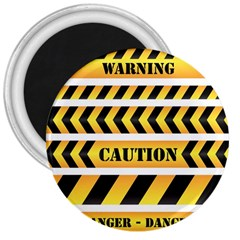 Caution Road Sign Warning Cross Danger Yellow Chevron Line Black 3  Magnets by Alisyart