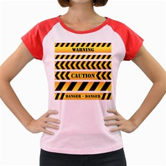 Caution Road Sign Warning Cross Danger Yellow Chevron Line Black Women s Cap Sleeve T Shirt