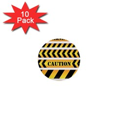 Caution Road Sign Warning Cross Danger Yellow Chevron Line Black 1  Mini Buttons (10 Pack)  by Alisyart