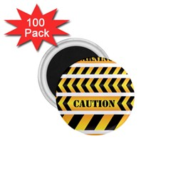 Caution Road Sign Warning Cross Danger Yellow Chevron Line Black 1 75  Magnets (100 Pack)  by Alisyart