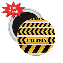 Caution Road Sign Warning Cross Danger Yellow Chevron Line Black 2 25  Magnets (100 Pack)  by Alisyart