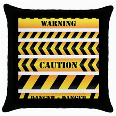 Caution Road Sign Warning Cross Danger Yellow Chevron Line Black Throw Pillow Case (black) by Alisyart