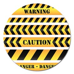 Caution Road Sign Warning Cross Danger Yellow Chevron Line Black Magnet 5  (round) by Alisyart