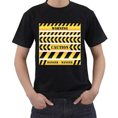 Caution Road Sign Warning Cross Danger Yellow Chevron Line Black Men s T Shirt (black) (two Sided) by Alisyart