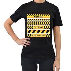 Caution Road Sign Warning Cross Danger Yellow Chevron Line Black Women s T Shirt (black) (two Sided) by Alisyart