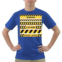 Caution Road Sign Warning Cross Danger Yellow Chevron Line Black Dark T Shirt by Alisyart