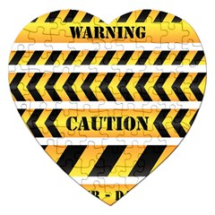 Caution Road Sign Warning Cross Danger Yellow Chevron Line Black Jigsaw Puzzle (heart) by Alisyart